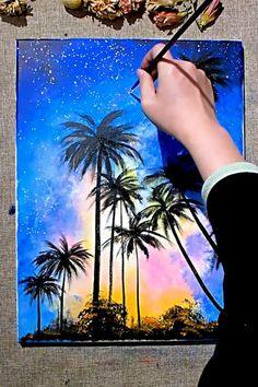 Simple Canvas Paintings, Diy Canvas Art, Art Painting Gallery, Canvas Painting Tutorials, Indian Art Paintings, Sky Art, Cool Art Drawings, Creative Art, Crafts