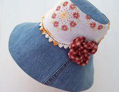 Denim Sun Garden Hat Vintage Linen Country by GreenbriarCreations, $20.00