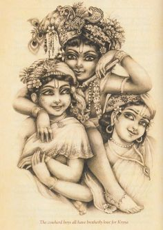 Lord Krishna with Gopas