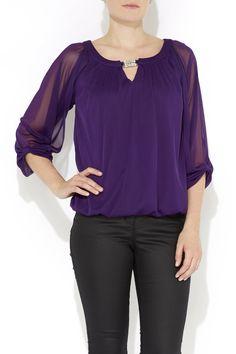 Photo 1 of Purple Bow Sleeve Chiffon Blouse