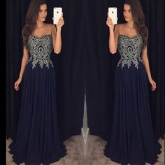 Ivory Lace Navy Blue Chiffon Sweetheart Prom Dress Evening Gowns LD035