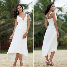 Find a Simple Tea Length Chiffon Beach Wedding Dresses 2016 Empire Pleat Short Wedding Dress Under 100 Empire Beach Wedding Gowns !