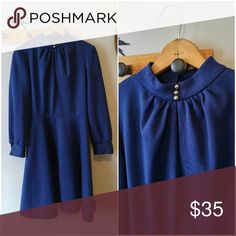 """Vintage 70s navy blue midi dress size medium M Vintage 1970s dress - Brand Montgomery Ward - 100% polyester with slight stretch - medium weight material, not sheer at all - long sleeve - knee length - 3 decorative buttons at neck - button cuffs - Secretary / stewardess syle - flattering fit and flare fit - in excellent condition - from a smoke free home :) Bust: 36"""" waist 28"""", length: 37""""   POSHD8588BLUE888 Vintage Dresses Midi"""
