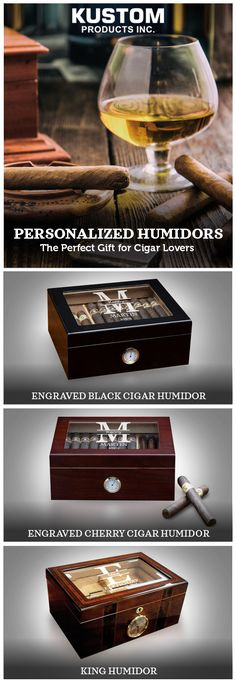 We all know that cigars are essential for relaxation, celebration, business deals, and leisure, so house them in style in one of our personalized humidors!