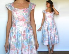 Vintage 80s Pastel Floral Dress | Pink White Party Prom Dress Medium by charlialana from Charli Alana Vintage. Find it now at http://ift.tt/1XxQ0gT!