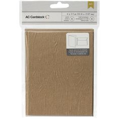 American Crafts: 8 Wood Grain Embossed Brown Blank Kraft Paper A2 Cards and Envelopes