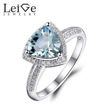 Leige Jewelry Aquamarine Engagement Ring for Women March Birthstone 925 Sterling Silver Ring Triangle Cut 8X8mm Natural Gemstone //Price: $US $152.75 & FREE Shipping //     #Birthstone Jewelry