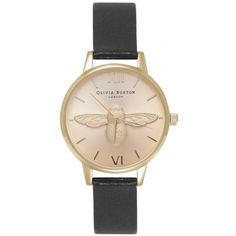 Olivia Burton Midi Moulded Bee Black Gold Watch ($155) ❤ liked on Polyvore featuring jewelry, watches, gold wristwatches, gold wrist watch, gold jewelry, leather-strap watches and honey bee jewelry