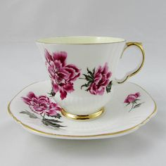 Royal Adderley Tea Cup and Saucer with Pink Flowers and Yellow