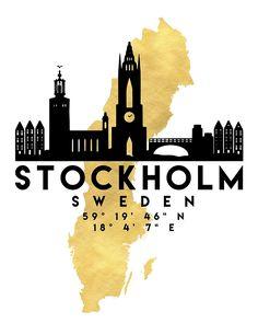 STOCKHOLM SWEDEN SILHOUETTE SKYLINE MAP ART von deificusArt