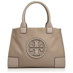 Tory Burch Ella Studded Logo Mini Tote ($245) ❤ liked on Polyvore featuring bags, handbags, tote bags, brown tote, brown tote handbags, mini handbags, mini tote and brown tote purse