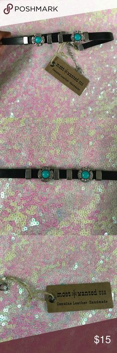 Genuine Leather choker with Turquoise Stones This listing is for one brand new with tags genuine leather choker with turquoise-colored stones (not genuine turquoise). The stones slide and are adjustable. Choker has adjustable clasp. most wanted Jewelry Necklaces
