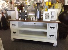 Opium 4 drawer tv stand in two tone. The perfect look for any home.