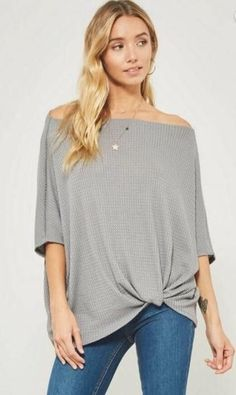 d5f5364ae1c80 Caught Ya Lookin - cute off the shoulder top with waffle knit texture  Waffle Knit