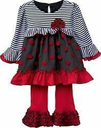 Isobella And Chloe Red/Stripped Pant Set