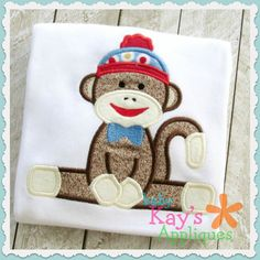 Sock Monkey Sitting Boy Applique - Here is another of our cute and fun Sock Monkey Designs. This design is great for boys and the sitting position would look great on top of a monogram!