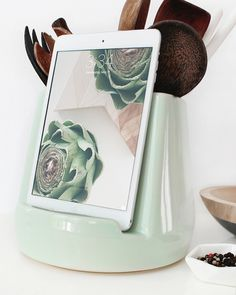 Stak Ceramics Mint Kitchen Dock (Pre-Order Only. In white too - Stak Ceramics Kitchen Utensils, Kitchen Tools, Kitchen Gadgets, Kitchen Storage, Kitchen Organization, Kitchen Utensil Holder, Kitchen Products, Cooking Utensils, Mint Kitchen