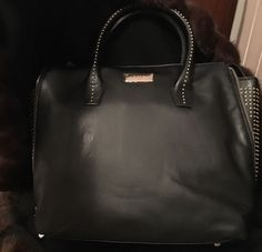 BCBG Paris Black Handbag with Gold Studs Gorgeous Great Christmas Gift | eBay