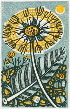 Dandelion III - wood engraving print by Angie Lewin - printmaker