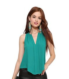 8478e6be546ae Mansy Womens Sexy Chiffon Sleeveless Vneck Tank Top Shirt   Learn more by  visiting the image