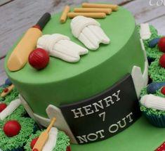 Cricket birthday cake Cricket Birthday Cake, Cricket Cake, Birthday Cakes, Rock Climbing Cake, Cake Baking, Cakes For Boys, Celebration Cakes, Muhammad, Themed Cakes