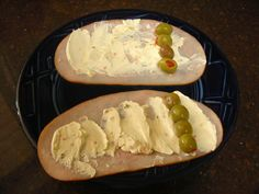 Quick Low Carb Filling Snack – Turkey, cream cheese, green olive roll ups.