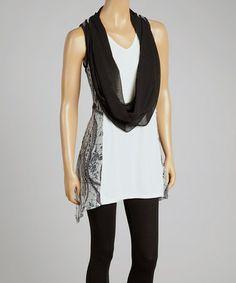 This Black & Cream Silk-Blend Drape Tank & Vest by Pretty Angel is perfect! #zulilyfinds