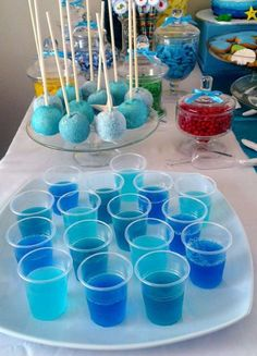 These look like jello shots at a toddler birthday party? And it'd be awesome if they all napped. Under the sea birthday party Frozen Party, Frozen Birthday, First Birthday Parties, Birthday Party Themes, First Birthdays, Cake Birthday, Winter Birthday, Birthday Ideas, Underwater Party