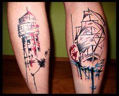 Ship and lighthouse  ( Filip Sečka tattoo) https://www.instagram.com/filipsecka/