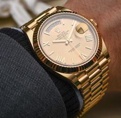Rolex Day-Date Luxury Watches Collection. New and Authentic Watches for Sale. Gold Rolex, Rolex Watches For Men, Luxury Watches For Men, Men's Watches, Stylish Watches, Cool Watches, Dream Watches, Authentic Watches, Swiss Army Watches