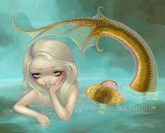 Golden Mermaid ocean nymph fairy art print by by strangeling, $29.99