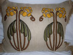 Arts & Crafts hand embroidered pillow by ARTANTIQ, via Flickr