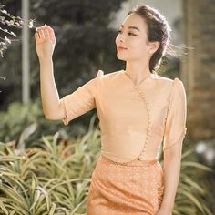 Traditional Dresses Designs, Traditional Outfits, Dress Design Patterns, Crop Top And High Waisted Shorts, Myanmar Dress Design, Myanmar Traditional Dress, Fashion Design Sketches, Classic Outfits, Classy Dress