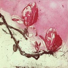 Magnolia III, Marta Wakula-Mac. This is an original hand pulled, unramed etching print. Edition of 30