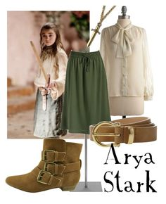 """""""Arya Stark"""" by companionclothes ❤ liked on Polyvore featuring Betsey Johnson, Old Navy, Linea, Wild Pair, S.W.O.R.D. and game of thrones"""