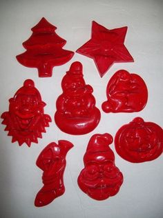 Christmas Tree Pine Spruce Aunt Chick Vintage Red Plastic Cookie Cutter Mold