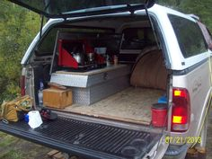 Camp Kitchens In A Box Survival Gear Truck Bed Camping, Diy Camping, Camping Life, Camping Ideas, Camper Tops, Bus Camper, Vw Bus, Campers, Monster Truck Room