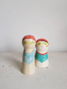 Ceramic doll, Swimmer, Kokeshi doll, Ceramic figurine, OOAK, Collectable doll, Miniature doll, Handpainted doll