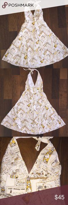 J. Crew Light house postcard halter dress. 100% linen lining is 100% cotton halter. J. Crew Dresses Midi