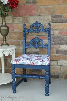 Blue chair makeover by Girl in the Garage.