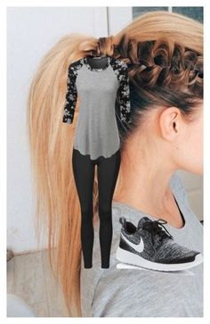 """""""workout/stay at home outfit"""" by tomboygirly184 on Polyvore featuring beauty, Topshop, LE3NO and NIKE"""