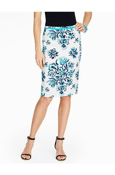 Etched Floral Pencil Skirt - Talbots