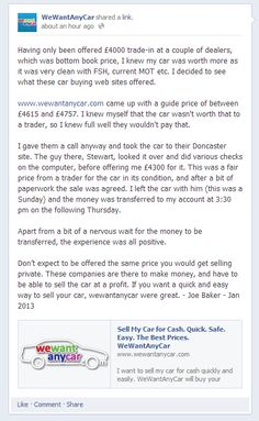 Latest review of We Want Any Car - by Joe Baker 18/01/2013 http://www.facebook.com/wewantanycar/posts/525540884146332