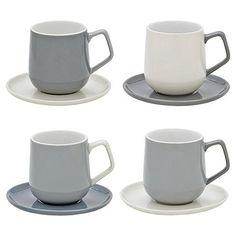 Tesco direct: Set of 4 Retro Espresso Mug & Saucer Set
