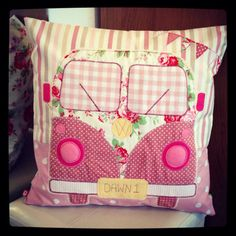 Handmade VW Campervan Cushion Cover Made to by AtHeartCreations Cute Pillows, Diy Pillows, Sewing Crafts, Sewing Projects, Diy Crafts, Combi Hippie, Camper Cushions, Felt Cushion, Freehand Machine Embroidery