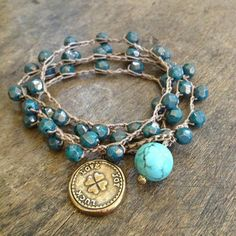 """Love, Joy, Luck - Clover Turquoise Multi Wrap Knotted Bracelet, Necklace """"Beach Chic"""" $45.00"""