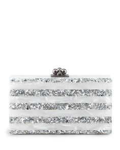 Jean Striped Acrylic Confetti Clutch Bag, White/Silver by Edie Parker at Neiman Marcus.