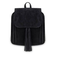 Yoins Black Fringe Backpack with Foldover Flap ($26) ❤ liked on Polyvore featuring bags, backpacks, yoins, handbags, black, rucksack bags, drawstring backpack bags, zipper bag, knapsack bag and fringe backpacks
