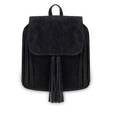 Yoins Yoins Black Fringe Backpack (£17) ❤ liked on Polyvore featuring bags, backpacks, backpack, yoins, handbags, black, zipper bag, drawstring backpack, zip bags and day pack backpack