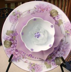 Lilac decals fired on white china plate add something extra to this Forever Flower.